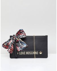 Love Moschino - Stud Logo Clutch With Chain Strap - Lyst