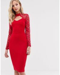 AX Paris Lace Long Sleeve Midi Dress-red