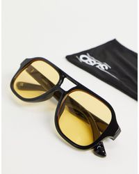 ASOS Occhiali da sole stile navigator neri con lenti gialle - Nero
