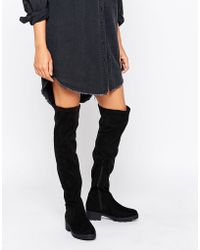 Lost Ink Gain Stretch Chunky Flat Over The Knee Boots - Black