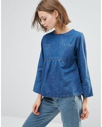 WÅVEN Annelie Oversized Peplum Top With Pockets - Blue