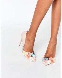 Miss Kg Caela Floral Embellished Heeled Court Shoes - Nude Pink