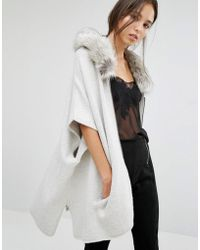 French Connection - Autumn Poncho Cardigan With Faux Fur Collar - Lyst