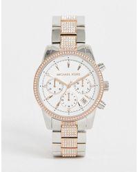 c0620e253e68 Michael Kors Mk8609 Brecken Chronograph Bracelet Watch In Silver ...