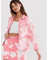 Monki Tie Dye Denim Jacket In Pink