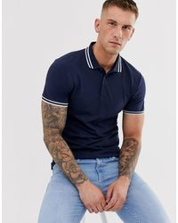 ASOS Skinny Fit Polo Shirt With Tipping - Blue