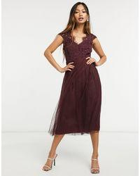 Little Mistress Бордовое Приталенное Платье Миди С Кружевным Лифом И Короткими Рукавами -красный - Многоцветный