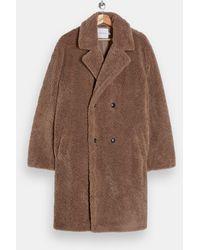 TOPMAN Коричневое Плюшевое Двубортное Пальто -коричневый Цвет