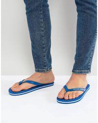 Armani Exchange - Logo Flip Flops In Blue - Lyst
