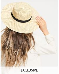 South Beach Exclusives - Strohoed Met Zwarte Strik - Naturel