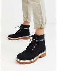 Caterpillar Cat Lyric Corduroy Suede Lace Up Boots - Black