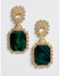 ASOS Drop Earrings With Textured Metal And Resin Stones - Green