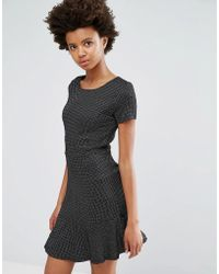 Dex - Drop Hem Jacquard Dress - Lyst