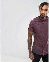 ASOS - Skinny Shirt With Baseball Collar In Burgundy - Lyst