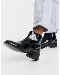 River Island Diamante Heeled Patent Flat Boot - Black
