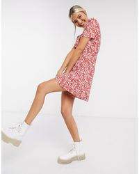 Glamorous Tie Front Tea Dress - Red