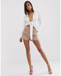 ASOS Tailored A-line Shorts With Pleat Front - Natural