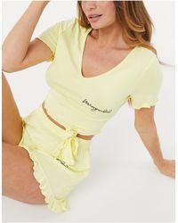 Missguided Пижамный Комплект Желтого Цвета С Принтом В Виде Надписей -желтый