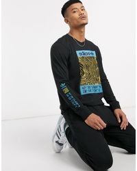 adidas Originals Long Sleeve T-shirt With Adventure Print - Black