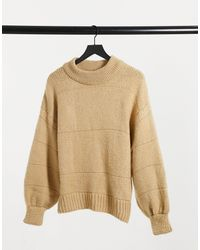 ASOS Oversized Jumper With Stripe Stitch Detail - Natural