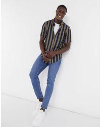 Fred Perry Рубашка В Вертикальную Полоску С Короткими Рукавами -темно-синий