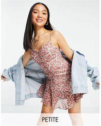 TOPSHOP Petite - vestito corto con spalline sottili arricciato a fiori - Multicolore