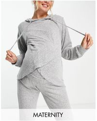 Lindex Mom Moa Maternity Wrap Front Lounge Hoodie - Gray