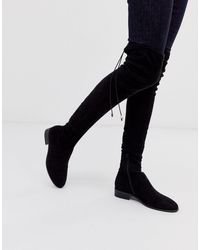 ASOS Asos Design Kayden Petite Flat Thigh High Boots - Black