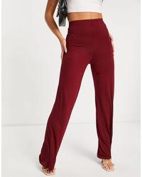 Flounce London Pantaloni basic a vita alta con fondo ampio vino - Rosso