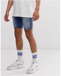 ASOS Super Skinny Denim Shorts With Power Stretch And Cargo Pockets - Blue