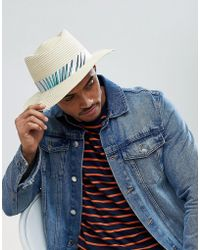 ASOS - Asos Diamond Crown Pork Pie Straw Hat In Natural With Floral Band  Detail - acbc3f814
