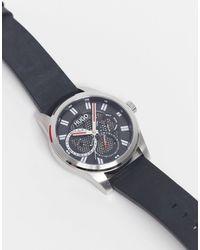 HUGO Mens Leather Chronograph Watch - Black