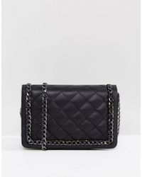 ASOS - Leather Quilted Chain Shoulder Bag - Lyst