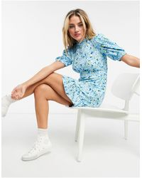 New Look Puff Sleeve High Neck Mini Dress - Blue