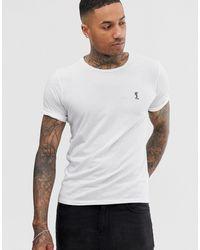 Religion T-shirt à logo et manches à revers - Blanc