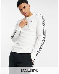 Fred Perry Taped Long Sleeve T-shirt - White