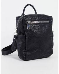 ASOS Black Grainy Backpack With Chunky Zips
