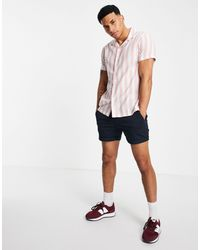Abercrombie & Fitch Camicia a maniche corte con colletto rever a righe color block rossa - Rosso