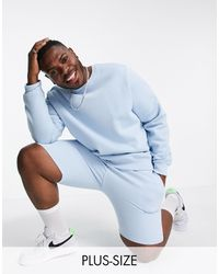 Threadbare Plus Co-ord Crew Neck Sweatshirt - Blue