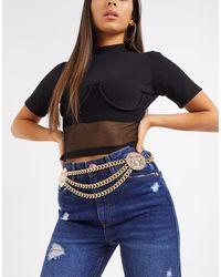 ASOS Snake Head Waist And Hip Chain Belt - Metallic