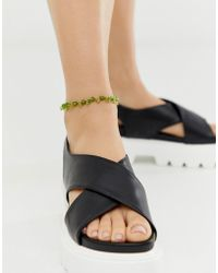ASOS - Anklet With Green Beads - Lyst