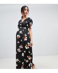 eed4b17a278 ASOS - Asos Design Maternity Button Through Maxi Tea Dress In Floral  Jacquard - Lyst