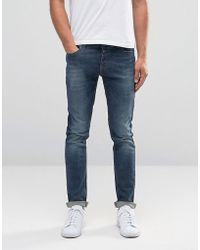 Benetton Mid Wash Jeans In Skinny Fit - Blue