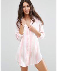 ASOS Moss Satin Stripe Piped Oversized Nightshirt - Pink