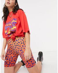 House of Holland Vivid Cheetah legging Shorts - Red