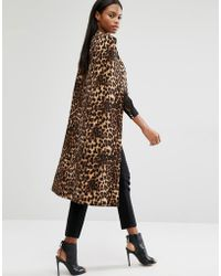 Lavish Alice Leopard Print Collarless Cape Coat - Multicolor