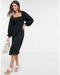 New Look Shirred Square Neck Midi Dress - Black
