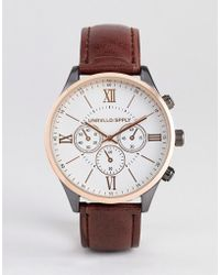 ASOS - Watch In Rose Gold Mixed Metal Finish With Brown Croc Strap - Lyst