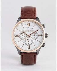 ASOS Watch With Mixed Metal Finish And Croc Strap In Brown