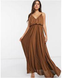 ASOS Платье Макси Шоколадного Цвета На Бретелях - Коричневый